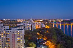 Evening Voronezh. View to Voronezh water reservoir, bridge and residential area Stock Photo