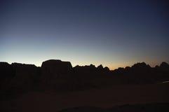 Evening in Wadi Rum. Scenic view during mountain climb in Wadi Rum desert Royalty Free Stock Image