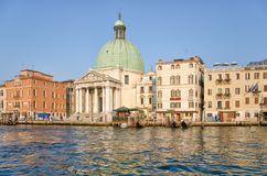 Church San Simeone Piccolo on the embankment of Canal Grande in Venice, Italy royalty free stock image