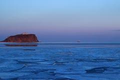 Evening walk on the ice Stock Photo