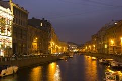 Evening walk in St. Petersburg, tour around cities of Russia Stock Photos