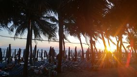 In the evening. Watch the sunset on the beach at Bangsean Chonburi province in Thailand Stock Photos