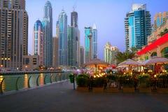 Evening on the waterfront Dubai Marina Stock Images
