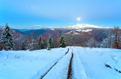 Evening Way From Autumn To Winter And Fool Moon (Carpathian, Ukr Royalty Free Stock Photos