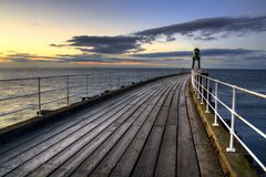 Evening on Whitby Pier Stock Image