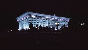 Evening White house. To The white house in Bishkek, Kyrgyzstan. Evening view, changed colors Stock Photography