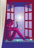 Evening in the window Royalty Free Stock Image