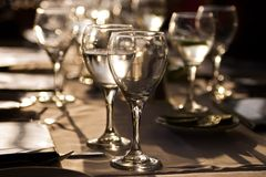 Evening wine glasses stock image