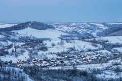 Evening winter landscape. Evening landscape of village in winter Royalty Free Stock Images