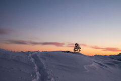 Evening time in mountains. Evening winter time in mountains royalty free stock photos