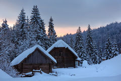 Evening winter Ukrainian Carpathian Mountains landscape. Stock Photo