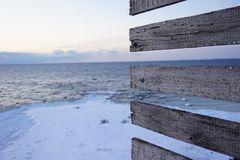 Evening winter vew from lighthouse royalty free stock photography