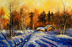 Evening in winter village Stock Image