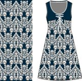 Evening woman's dress blue color with a pattern of diamonds, fabric silk. Fashion design and illustration. Stock Images