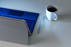 Evening work place and laptop Royalty Free Stock Photography