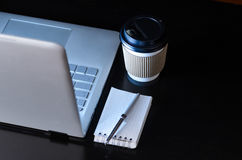 Evening work place and laptop Royalty Free Stock Image