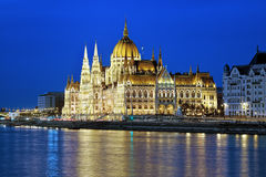 Eveninig view of the Hungarian Parliament Building in Budapest Stock Image