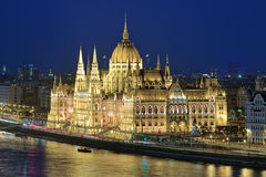 Evening view of the Hungarian Parliament Building in Budapest Stock Images