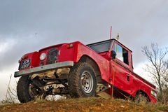 Rood Land Rover Stock Fotografie