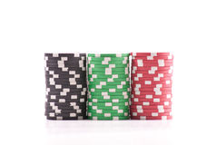 Evenly Stacked Poker Chips. On White Stock Photography