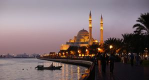 Evenning View Of Sharjah Lake And Alnoor Mosque Stock Image