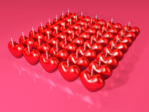 Event 3d red heart candle array Stock Images