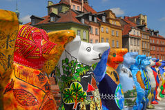 Event. International art event on Castle Square in Old Town in Warsaw. Each Bear represent one country of the world Stock Photos