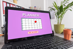 Event adding on planner concept on a laptop Stock Images