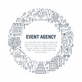 Event agency, birthday party banner with vector line icon of catering, birthday cake, balloon decoration, flower Royalty Free Stock Photography