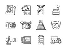 Event agency black simple line icons set Stock Image