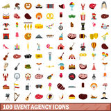 100 event agency icons set, flat style. 100 event agency icons set in flat style for any design vector illustration vector illustration