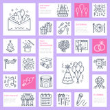 Event agency, wedding organization vector line icon. Party service catering, birthday cake, balloon decoration, flower Royalty Free Stock Image
