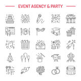 Event agency wedding organization vector line icon. Party service - catering, birthday cake, balloon decoration, flower. Event agency, wedding organization royalty free illustration