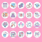 Event agency wedding organization vector line icon. Party service - catering, birthday cake, balloon decoration, flower. Event agency, wedding organization Royalty Free Stock Images