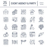Event agency, wedding organization vector line icon. Party service catering, birthday cake, balloon decoration, flower. Event agency, wedding organization vector stock illustration