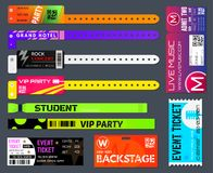 Event bracelets set. Event ticketing at music festivals and sporting events worn around the wrist or arm. Vector flat style cartoon illustration isolated on Royalty Free Stock Image