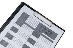 Event Budget planner form. Form  on isolated white background Stock Image