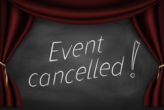Event cancelled on blackboard Royalty Free Stock Photography