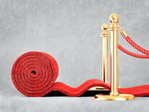 Event carpet. Red event carpet  on a grey background Stock Image