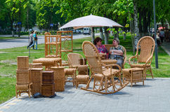 Event City of Masters. Exhibition and sale of wicker furniture Royalty Free Stock Photography