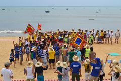 Many people participate in sports activities at beaches and parks - Quy Nhon, Vietnam in 2011. The event of a company with many people involved, they participate royalty free stock photography
