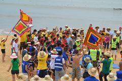 Many people participate in sports activities at beaches and parks - Quy Nhon, Vietnam in 2011. The event of a company with many people involved, they participate stock photos