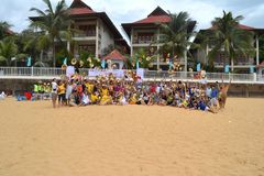 Many people participate in sports activities at beaches and parks - Quy Nhon, Vietnam in 2011. The event of a company with many people involved, they participate stock photography