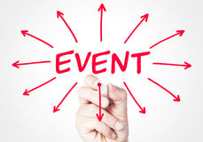 Event. Concept sketched on screen royalty free stock photography