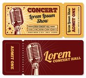 Event or concert ticket admission entry vector template. Ticket and coupon card for entertainment illustration royalty free illustration