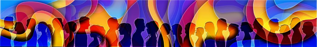 Event with crowd of silhouette people. Audience having fun at a party. Nightclub with music. High-colored background royalty free stock photo