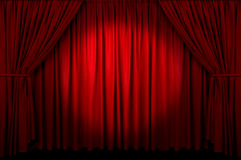 Event Curtain. Large red curtain with spot light and fading into dark Royalty Free Stock Photo