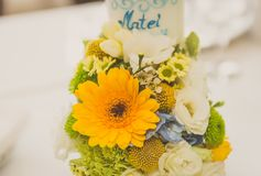 Event decoration. A table decorated for a baby shower boy Stock Image
