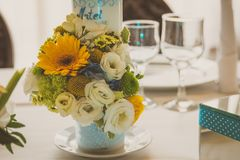 Event decoration. A table decorated for a baby shower boy Royalty Free Stock Photo