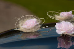 Event details. Wedding car decorated with pink flowers Stock Image